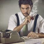 Schriftsteller an der Schreibmaschine